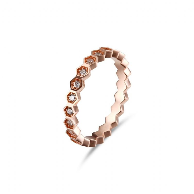 Rose Gold Bamboo Ring/silver 925